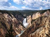 Beautiful Yellowstone National Park Canyon Falls With Blue Skies With Clouds