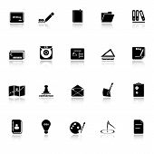 Writing Related Icons With Reflect On White Background