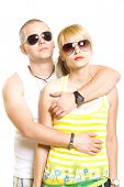 Young Trendy Couple Wearing Sunglasses