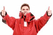 Young Man Sailor In Red Wind Jacket. Sailing.