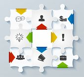 Parts Puzzles With Icons. Business Concept, Infographics, Web Design, Mobile Design, Media