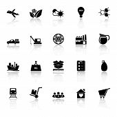 Supply Chain And Logistic Icons With Reflect On White Background