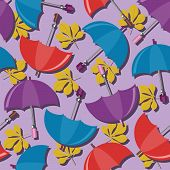 seamless background with umbrellas and leaves