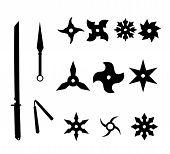 Ninja weapons Silhouettes