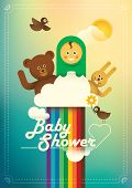 Baby shower illustration with cute animals. Vector illustration.