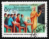 Postage Stamp Laos 1990 Monk Teaching Class