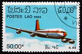 Postage Stamp Laos 1986 Il86 Soviet Jet Airliner
