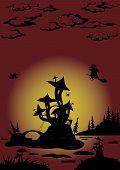 stock photo of magical-mushroom  - Holiday Halloween landscape with magic Castle  - JPG