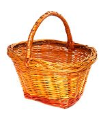 Empty Wicker Basket. Isolated On White Background.