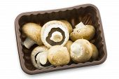 Fresh Chestnut Mushrooms In A Plastic Container