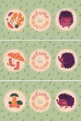 Set Of Autumn Cards With Hedgehogs