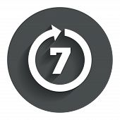 Return of goods within 7 days sign icon.