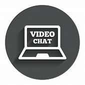 picture of video chat  - Video chat laptop sign icon - JPG
