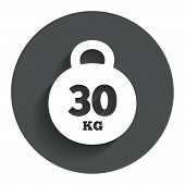 Weight sign icon. 30 kilogram (kg). Sport symbol