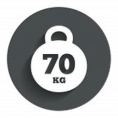 Weight sign icon. 70 kilogram (kg). Sport symbol