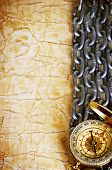 Compass, Anchor And  Chain On Vintage Old Paper Background