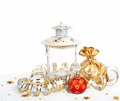 Red Christmas Ball, Golden Bag With Gifts And The Old Vintage Lamp Isolated On White Background