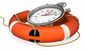 3D Lifebuoy With Stopwatch, Save Time Concept