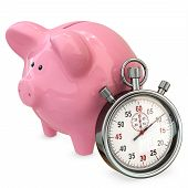 3D Piggy Bank With Stopwatch, Save Time Concept