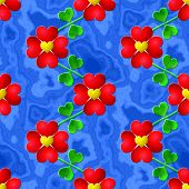 Heart Flower Seamless Relief Painting On Generated Marble Textur