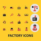 factory, industry icons, signs, illustrations, silhouettes set, vector