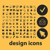 web design icons, signs, illustrations, silhouettes set, vector