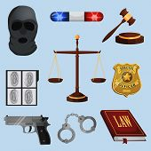 Law and justice icons set