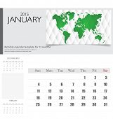 Simple 2015 calendar, January. Vector illustration.