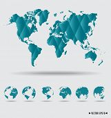 World map and earth globes. Vector illustration.