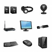 image of peripherals  - Computer accessories and peripheral black icons set isolated vector illustration - JPG