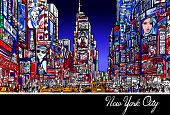 Colorful interpretation of Times Square in New York at night - Vector illustration