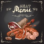 foto of pork chop  - Meat food chalkboard set with pork fillet chop steak and sausage vector illustration - JPG