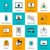 stock photo of flashing  - Hacker infected laptop computer and flash drive flat line icons set isolated vector illustration - JPG