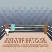 stock photo of boxing ring  - Box fight club background with ring and audience vector illustration - JPG