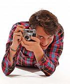Photographer taking picture.Photographer portrait,Journalist.Hidden paparazzi.