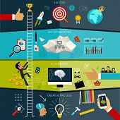 Flat design vector illustration concept of SEO combined from elements and icons which symbolized a s