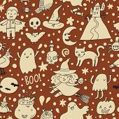 Vintage vector Halloween seamless pattern. Cute holiday symbols in cartoon style - witch, vampire, pumpkin, birds, ghosts, moon, cat, skull and others