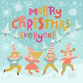 Stylish and bright Merry Christmas card in vector. Funny Elves dancing under the snowfall. Cute holi