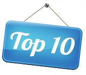 stock photo of ten  - top 10 charts list pop poll result  and award winners chart ranking music hits best top ten quality rating prize winner - JPG