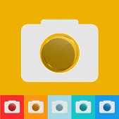 Vector modern camera icon with circle glass set