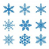 Illustration set blue Snowflake isolated on white background. Christmas.