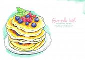 Painted watercolor card with pancakes.