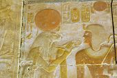 Ancient egyptian Goddess Sekhmet and Seti