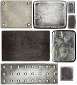 Various metal textures, isolated on white background