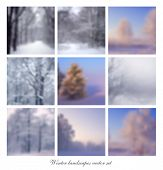 Vector blurry winter landscapes background set
