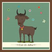 Muslim community festival of sacrifice Eid-Ul-Adha greeting card design with goat on flowers decorated green background.