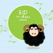 Muslim community festival of sacrifice Eid-Ul-Adha greeting card design with sheep on blue and green background.