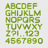 Paper green strict alphabet rounded. Isolated on white. Vector illustration