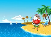 Santa with smartphone at the tropical coast with cocktail in hand