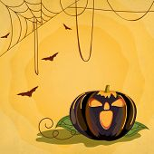 Happy Halloween poster, banner or flyer design with scary pumpkin on spider web yellow background fo